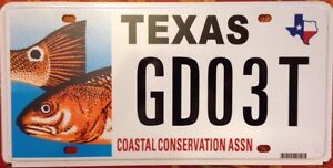 Texas coastal conservation license plate fish state park for Fishing license in texas