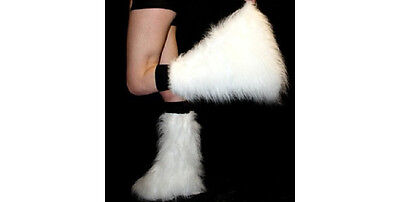 WHITE FLUFFY FURRY  BOOT COVERS LEGWARMER PARTY  RAVE CHRISTMAS DANCE CLUBWEAR](Fluffy Boot Covers)