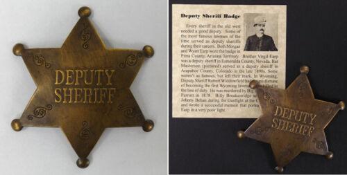 Old West Style Deputy Sheriff Badge, antiqued brass, boxed western Bat Masterson