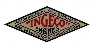 Ingeco Engines Decal International Gas Engine Co Motor