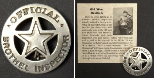 Official Brothel Inspector Badge, boxed, bordello, cat house, old west, round