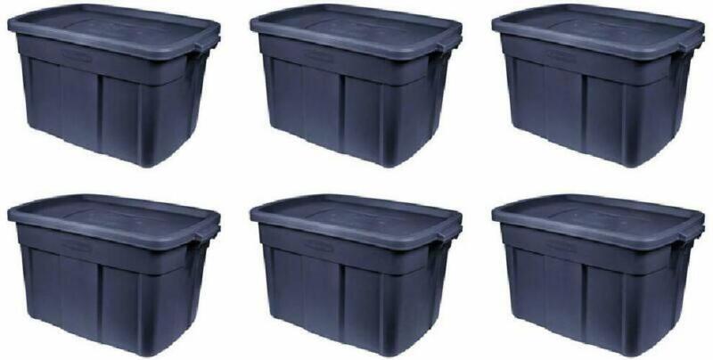 Rubbermaid Rmrt180051 Storage Tote-Pack Of 6 18 Gallon Dark