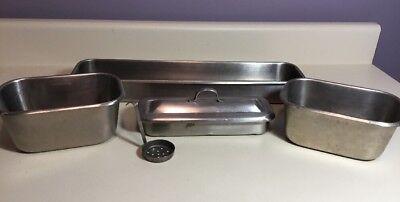 Vintage Vollrath Stainless Steel Medical Dental Soaking Trays Lot Of 4 Lid Spoon