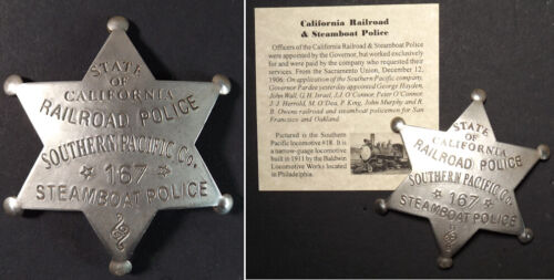 California Railroad & Steamboat Police, Southern Pacific Co., badge, boxed