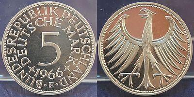 5 DM 1966 F Deutschland 5 DM J.387 Silber Kursmünze  PP, seltenes Münzzeichen