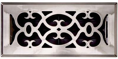 Floor Register, Satin Nickel Finish, Victorian Design, 4 X 12 - Free Shipping 4x12 Victorian Floor Register