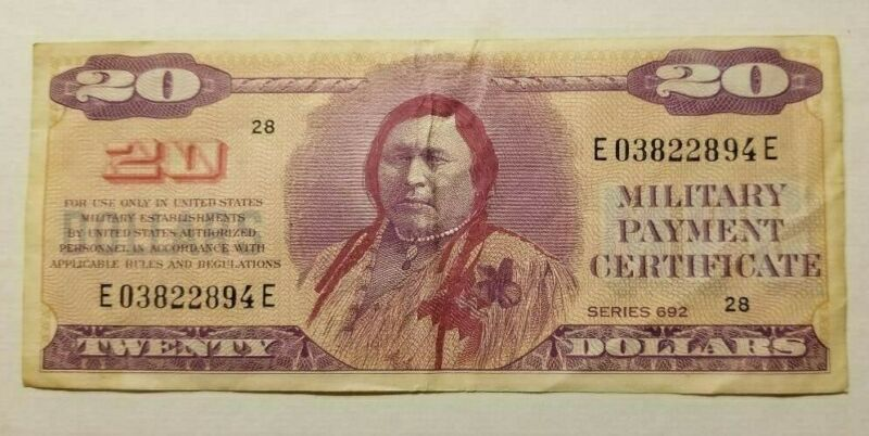 $20 DOLLAR MILITARY PAYMENT CERTIFICATE SERIES 692 FIRST PRINTING