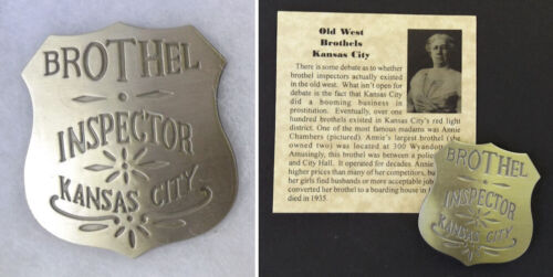 Kansas City Brothel Inspector Badge, bordello, cat house, old west, western