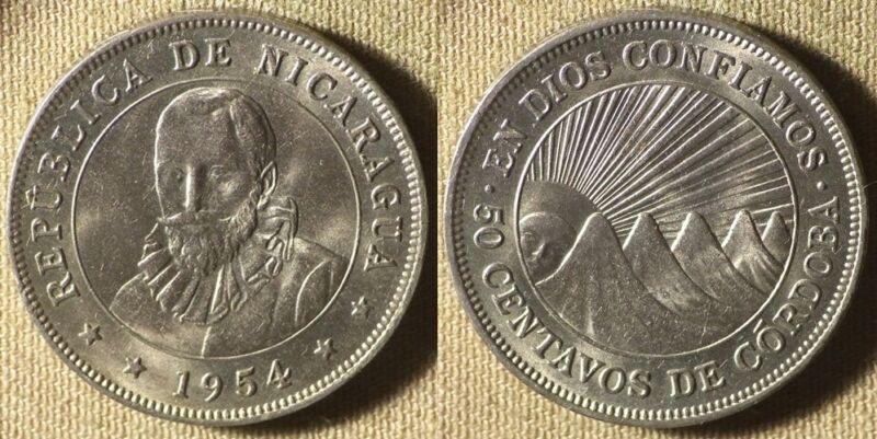 Nicaragua : 1954 50 Ct  Gem BU # 159.1   IR3277