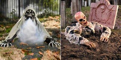 GRANDIN ROAD HALLOWEEN ANIMATED GROUND REAPER W/ FOG MACHINE PROP + FREE ZOMBIE](Halloween Ground)