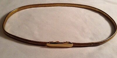 Vintage Gold Metal Stretchy Womens Belt Hook Clasp Made In USA