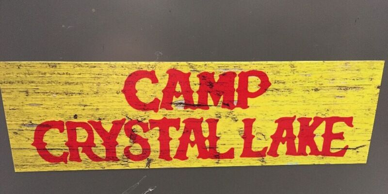 "Camp Crystal Lake Bumper Sticker Jason Voorhees Friday the 13th Sign 9"" Decal !"