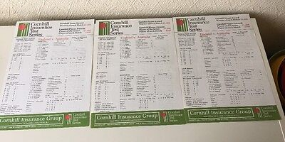 England v Australia - 3 Scorecards - 1985 - Gatting 160 - Old Trafford