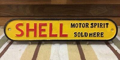 Cast Iron SHELL MOTOR SPIRIT SOLD Gasoline Sign Motor Oil Pump Plate Vintage