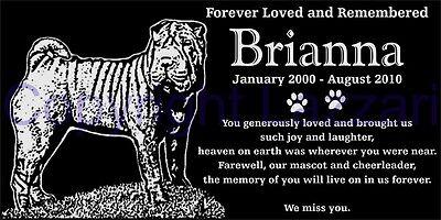"Personalized Shar Pei Dog Pet  Memorial 12""x6"" Engraved Granite Grave Marker"