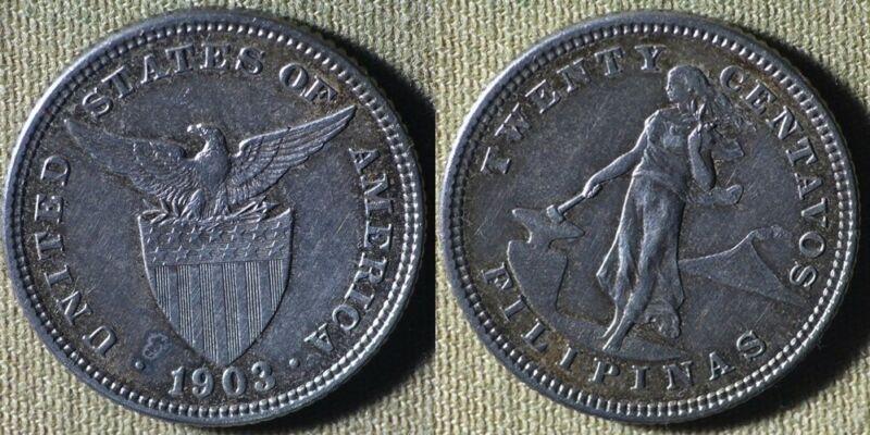 Philippines : 1903 20 Ct CH.AU-UNC Sm. Tone Spot #166 IR5054