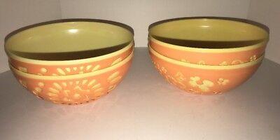 Yellow Plastic Bowls (Set of 4 Plastic Candy Bowls ORANGE/YELLOW NEW Summer Table Decor Food)