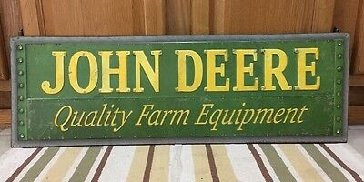 b8709563730 JOHN DEERE Metal Sign Farm Barn Vintage Style Industrial Tractor 30 x 9  Decor