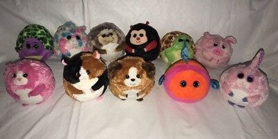 11 Ty Beanie Ballz Plush Tumbles Speedy Bandit Splashy Beans Prickles Fable Tiki