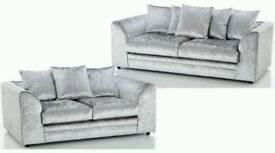 New Silver crushed velvet 3+2 sofas