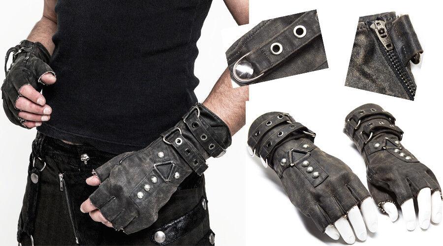 Steampunk Handschuh Fäustling rissig Leder Gothic Nagel Riemen PunkRave Herren G