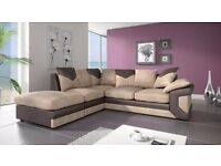 EXCLUSIVE SALE!! JUMBO CORD CORNER SOFA AVAILABLE IN BROWN AND BEIGE OR GREY AND BLACK COLOUR