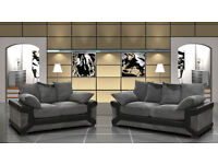 LARGE DINO FABRIC SOFAS 3 & 2 SEATER Or Corner FABRIC AND LEATHER GREY BLACK SOFA