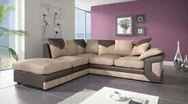 BRAND-New Fabric Corner Sofa AND 3 AND 2 SEATER In Grey & Black OR BROWN AND BEIGE COLOUR