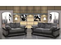 BRAND NEW DINO 3 AND 2 SEATER JUMBO FABRIC SOFA SUITE IN BLACK/GREY & BROWN/MINK, CORNER SETTEE ALSO