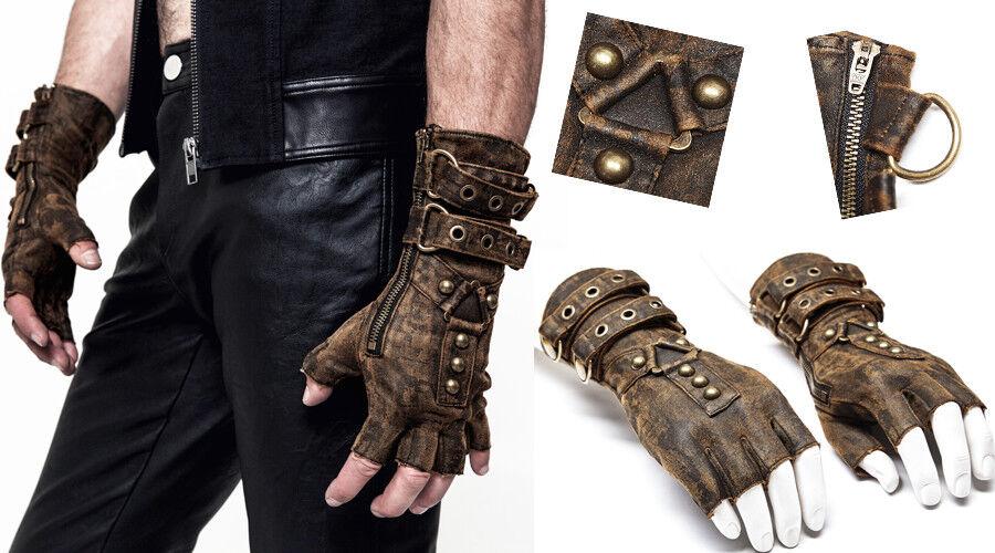 Steampunk Handschuh Fäustling rissig Leder Gothic Nagel Riemen Punkrave Herren K