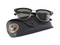 BRAND NEW Rayban Clubmaster 3016 Black Green Lens Top quality Summer Sunglasses - Size Medium
