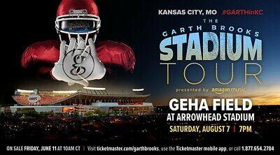 GARTH BROOKS 2 Tickets 8/7/21 GEHA at Arrowhead Kansas City SEC 126