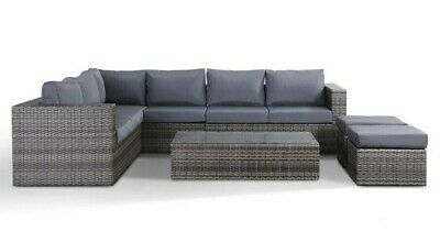 Garden Furniture - Layla Grey Rattan Garden Furniture Corner Sofa with Coffee Table and 2 Stools