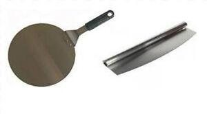 Pizza Peel Paddle Spatula & Pizza Cutter Rocker Set Stainless Steel