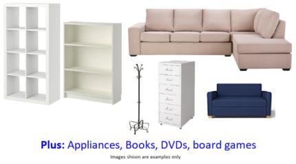 Garage Sale - Furniture, appliances, books, CDs, DVDs