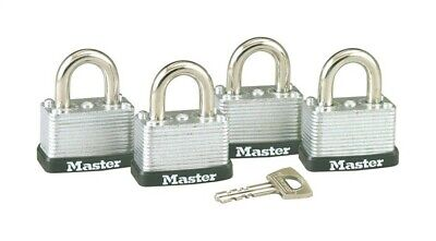 Master Lock Warded Padlocks Laminated Steel 1-12 Ka Cardedfour Pack