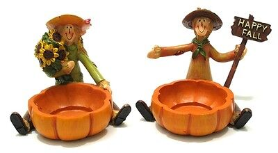 """Set of 2 Scarecrow Harvest Candleholders Thanksgiving Fall Decor 3.25x4.25x4"""""""