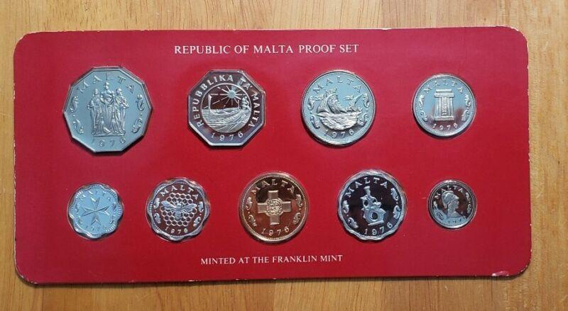 1976 Republic of Malta 9 Coin Proof Set