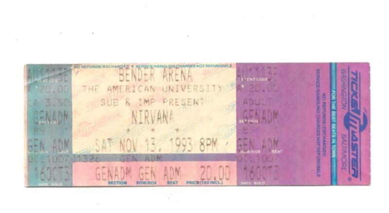 Uber RARE Nirvana UnTorn Ticket Stub American University 11/13/93 Music History