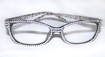 *CRYSTAL READING GLASSES MADE WITH SWAROVSKI NEW BLACK CLASSIC READERS +3.00*