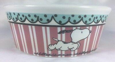 "Snoopy Peanuts Dog Water Food Bowl Pink Stripes Round Ceramic NWT New 5"""