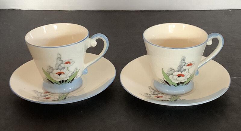 Vintage Japan Chikaramachi Set of 2 Demitasse Tea Cups Hand Painted Flower