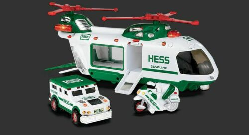 2001 HESS Collectible Helicopter with Motorcycle and Cruiser NIB *MINT*