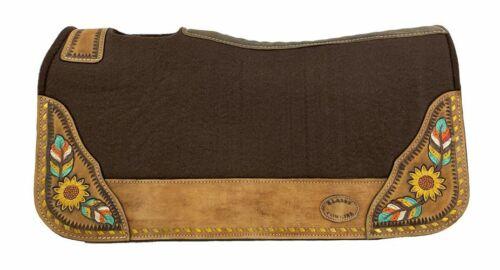 "Western Horse Contoured Saddle Pad Heavy Wool Felt w/ Sunflowers 28"" X 30"" X 1"""
