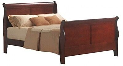 King Size Wood Finish Bed - King Size Sleigh Bed Solid Wood Headboard Footboard Bedroom Wooden Cherry Finish