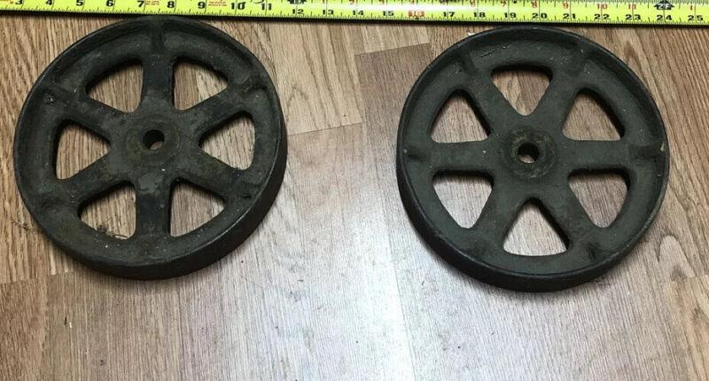 "Vintage Pair Railroad Train Cart Cast Iron Steel Wheels Steampunk Industrial  8"""
