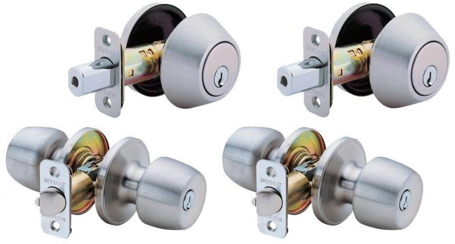 2-Combo Stainless Steel Entry Door Lock Knobs and Deadbolts