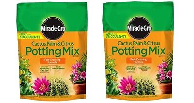 2 pack Miracle-Gro Cactus, Palm and Citrus Potting Mix 8 qt PLANT SOIL