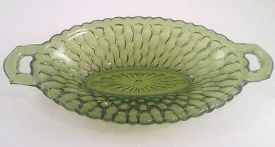 Green Honeycomb Oval 2 Handled Bowl~Pickle/Relish/Celery Dish~Indiana
