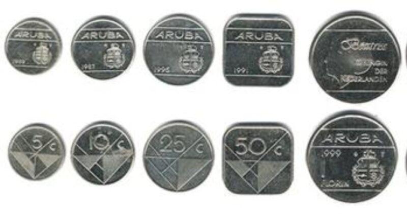 ARUBA: 5 UNCIRCULATED COINS, 0.05 TO 1 FLORIN SET